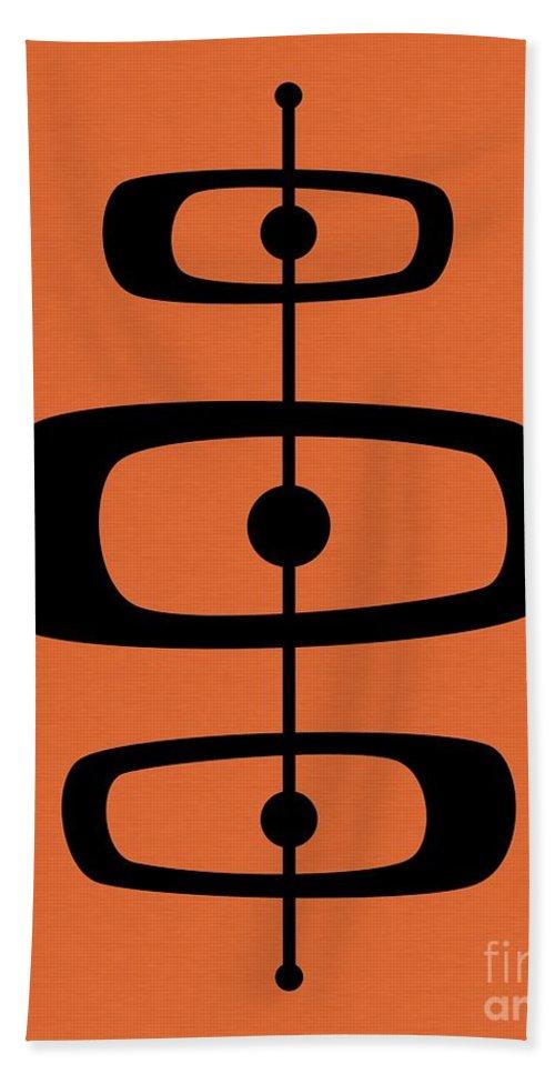 Orange Hand Towel featuring the digital art Mid Century Shapes 2 On Orange by Donna Mibus