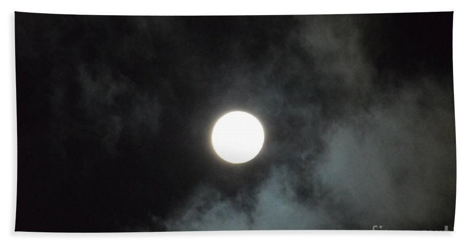 Mid-december Moon Hand Towel featuring the photograph Mid-december Moon by Maria Urso