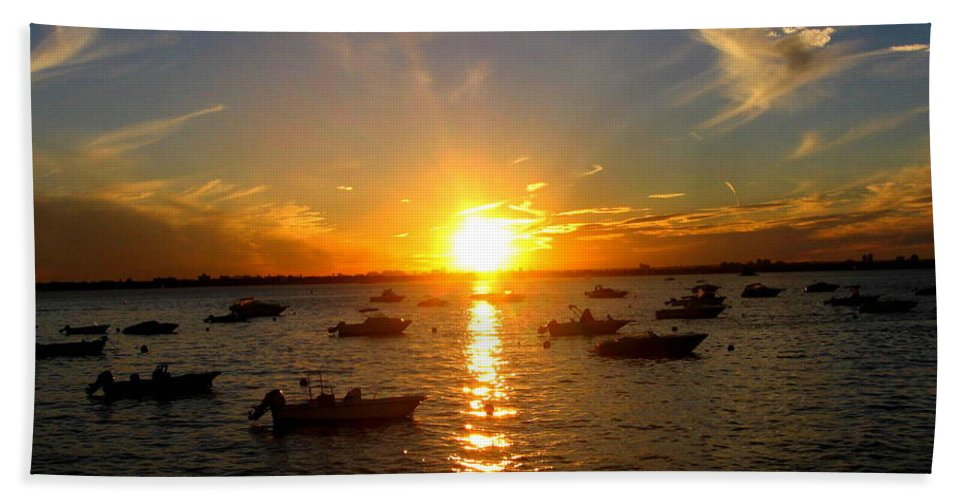 Sunsets Bath Sheet featuring the photograph Mid Summer Sunset Over The Island by Dora Sofia Caputo Photographic Design and Fine Art