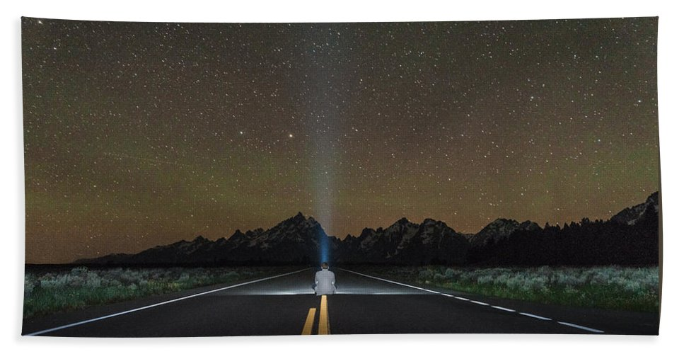 Grand Teton Hand Towel featuring the photograph Middle Of The Road by Kristopher Schoenleber