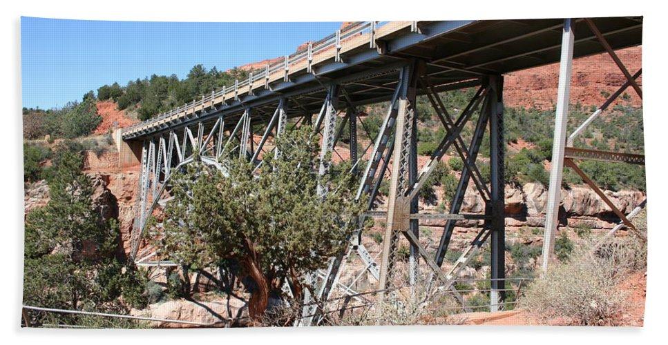 Bridge Bath Sheet featuring the photograph Midgley Bridge And Oak Creek Canyon by Christiane Schulze Art And Photography