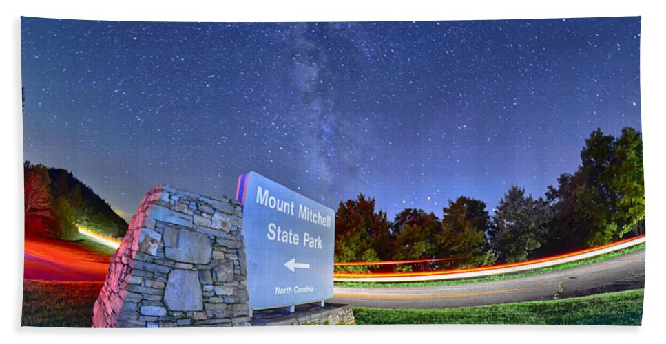 Appalachian Hand Towel featuring the photograph Midnight At Mount Mitchell Entrance Sign by Alex Grichenko
