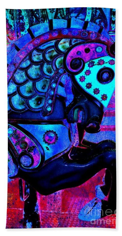 Carousel Hand Towel featuring the digital art Midnight Blue Carousel Horse by Patty Vicknair