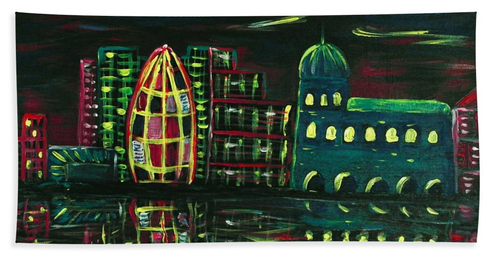 Malakhova Bath Towel featuring the painting Midnight City by Anastasiya Malakhova