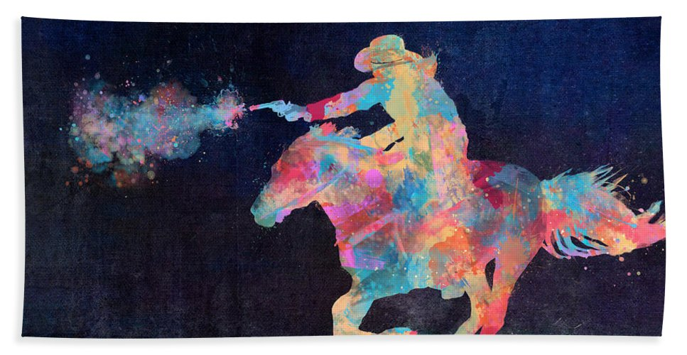 Cowgirl Bath Towel featuring the digital art Midnight Cowgirls Ride Heaven Help The Fool Who Did Her Wrong by Nikki Marie Smith