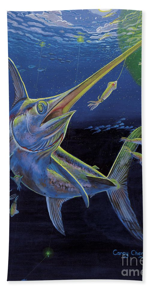 Swordfish Bath Sheet featuring the painting Midnight Encounter Off0023 by Carey Chen