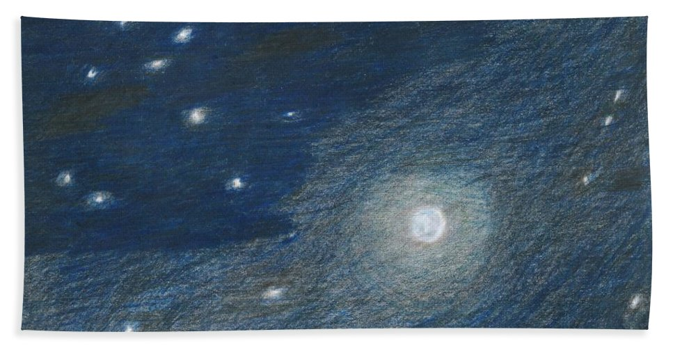 Sky Hand Towel featuring the painting Midnight by Myrtle Joy