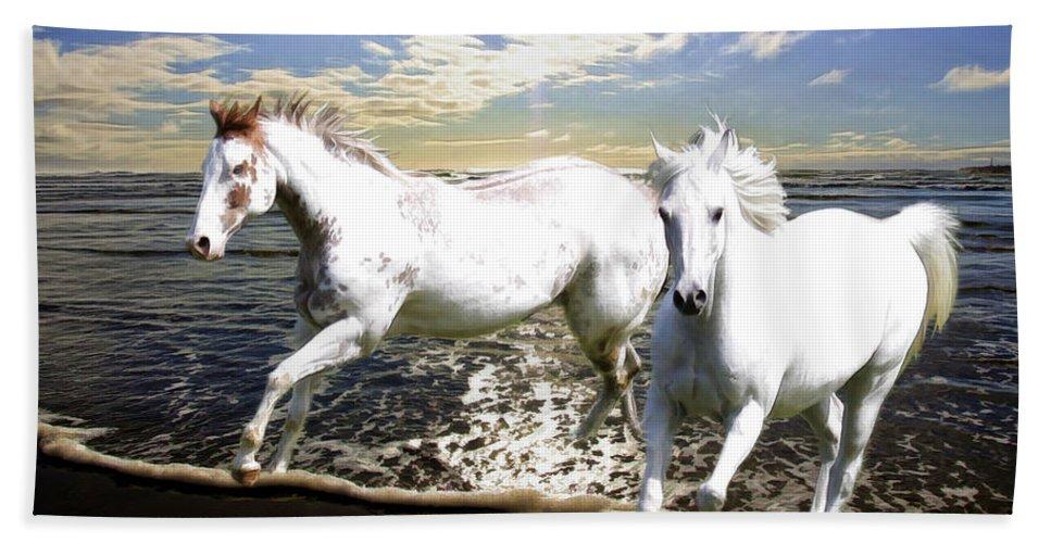 Horses Bath Sheet featuring the photograph Midnight Run II by Athena Mckinzie