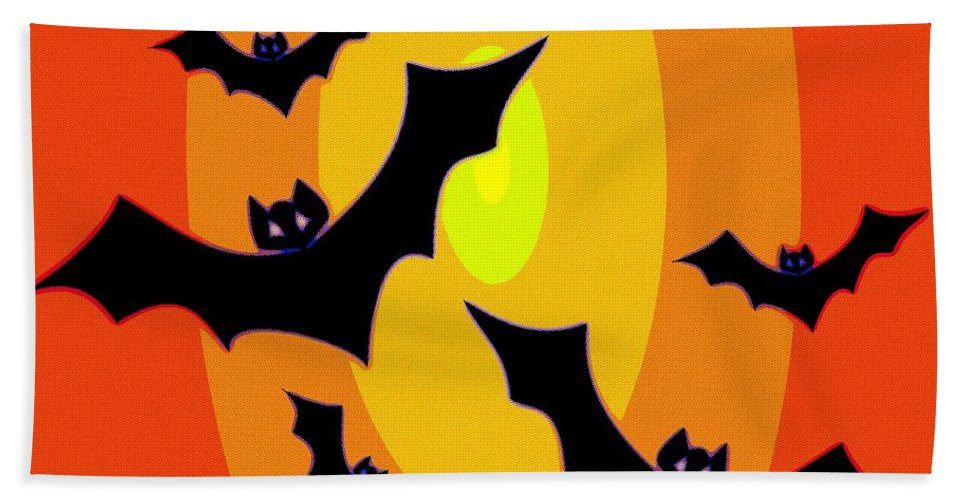Bat Hand Towel featuring the painting Midnight Sunset by Florian Rodarte