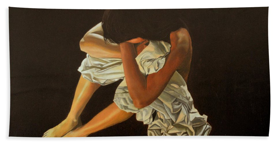 Figure Hand Towel featuring the painting Midnight by Thu Nguyen