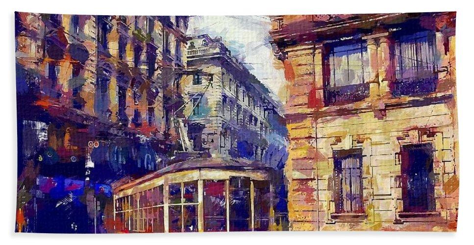 Milan Tram Hand Towel featuring the painting Milan Tram by Chris Butler