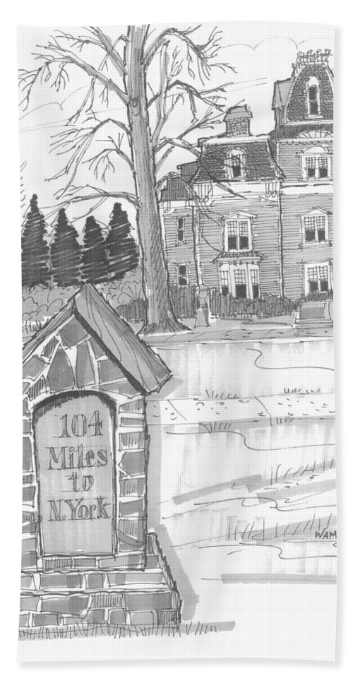 Hand Towel featuring the drawing Mile Marker And Victorian by Richard Wambach