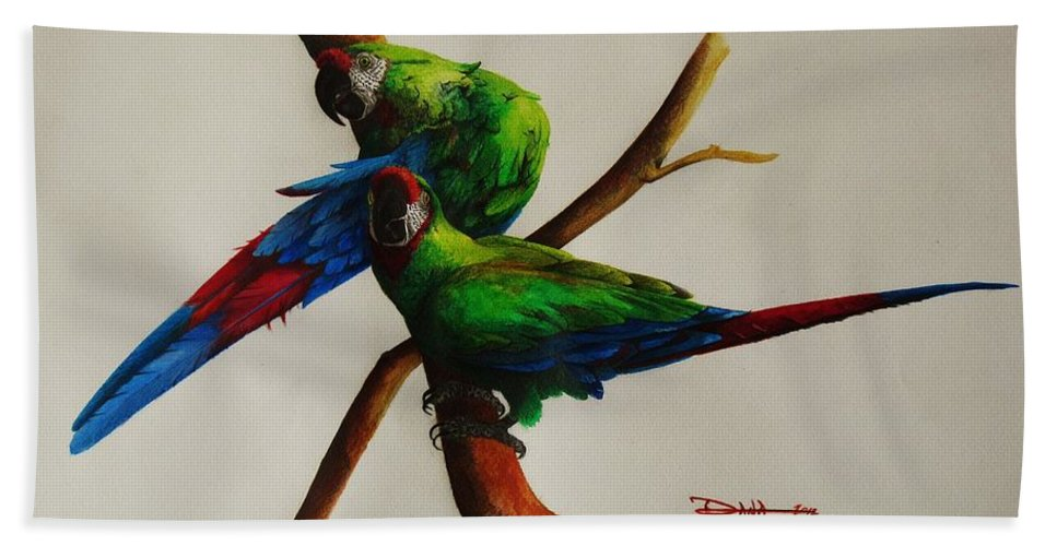 Paintings Bath Sheet featuring the painting Military Macaws by Dana Newman