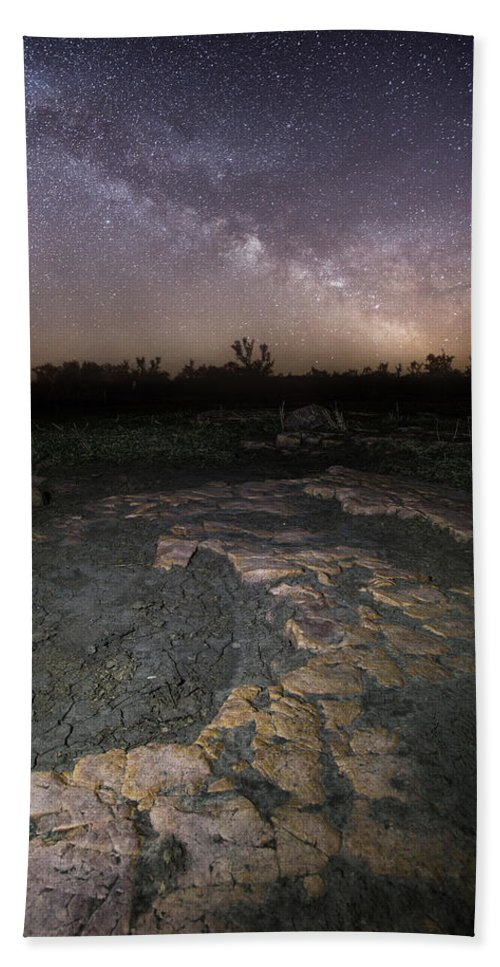 Milky Way Hand Towel featuring the photograph Milky Way On The Rock by Aaron J Groen
