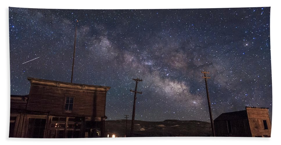 Bodie Bath Towel featuring the photograph Milky Way Over Bodie Hotels by Cat Connor