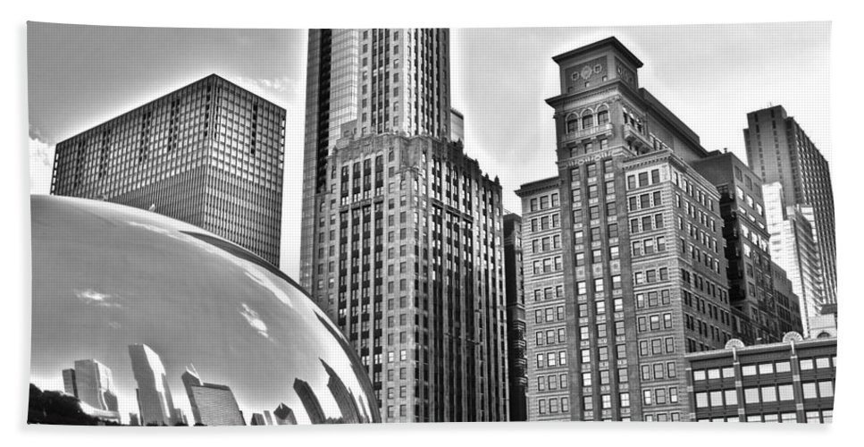 Millennium Bath Sheet featuring the photograph Millennium Park In Black And White by Frozen in Time Fine Art Photography