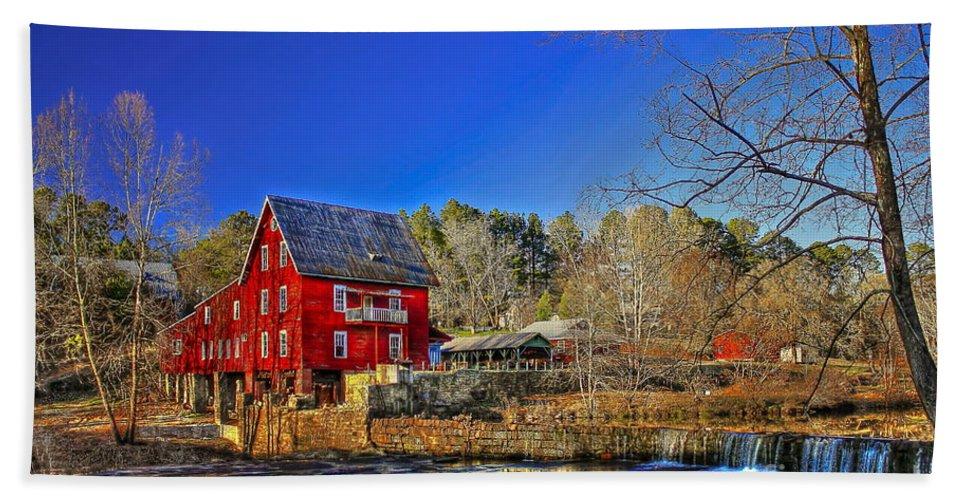 Reid Callaway Mill More Mill Bath Sheet featuring the photograph Historic Millmore Mill Shoulder Bone Creek by Reid Callaway