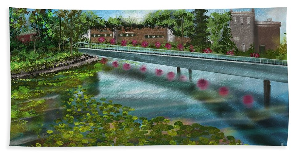 Water Hand Towel featuring the painting Millpond by Nancy Long