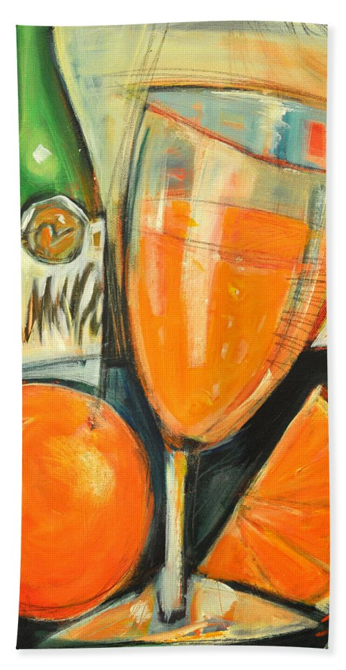 Mimosa Hand Towel featuring the painting Mimosa by Tim Nyberg