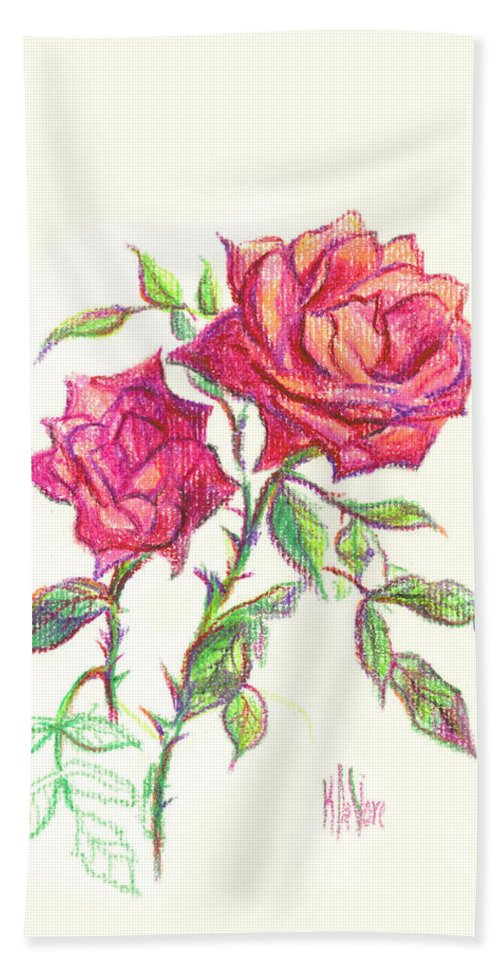 Nature Hand Towel featuring the painting Minature Red Rose by Kip DeVore