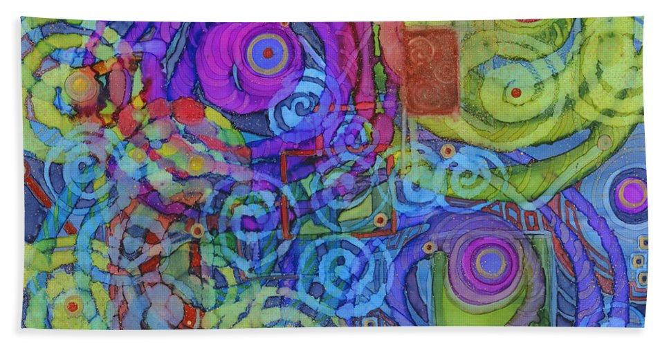Abstract Bath Sheet featuring the painting Out Of My Mind by Vicki Baun Barry