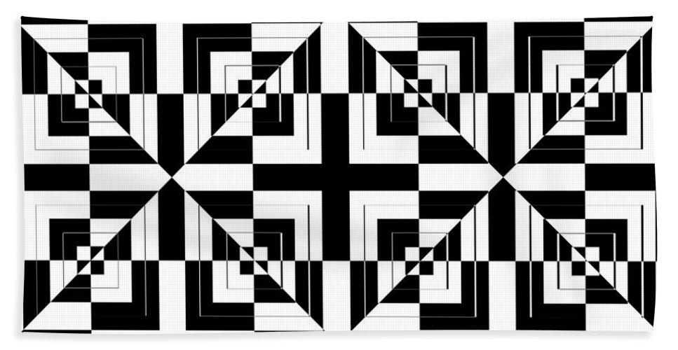 Black & White Bath Sheet featuring the digital art Mind Games 43 by Mike McGlothlen