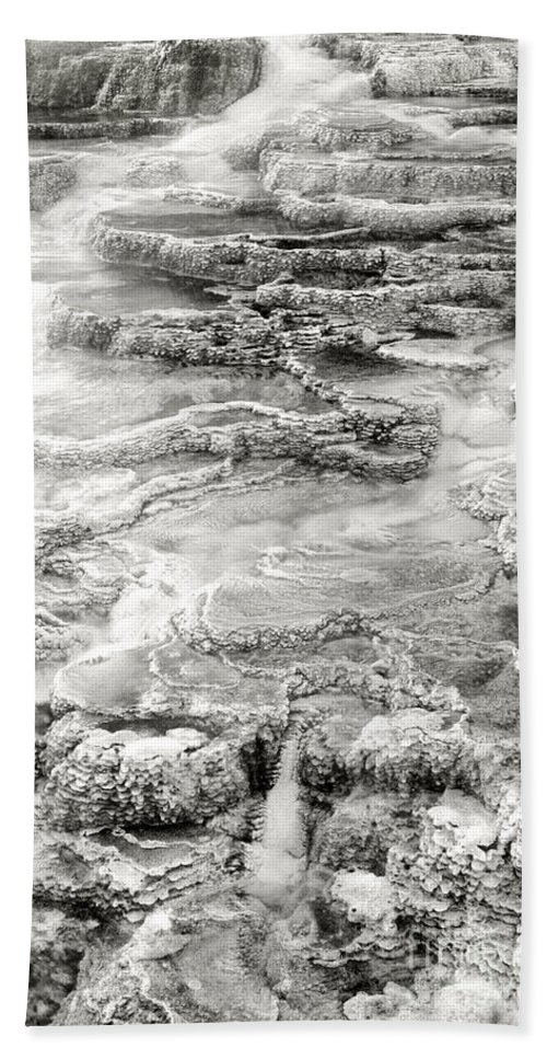 America Hand Towel featuring the photograph Minerva Springs In Black And White Yellowstone National Park Wyoming by Dave Welling