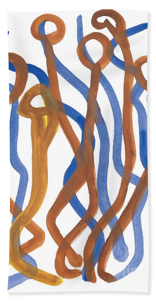 Abstract Hand Towel featuring the painting Mingle by Bjorn Sjogren