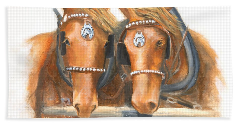 Horse Hand Towel featuring the painting Mini And Jake by Jerry McElroy