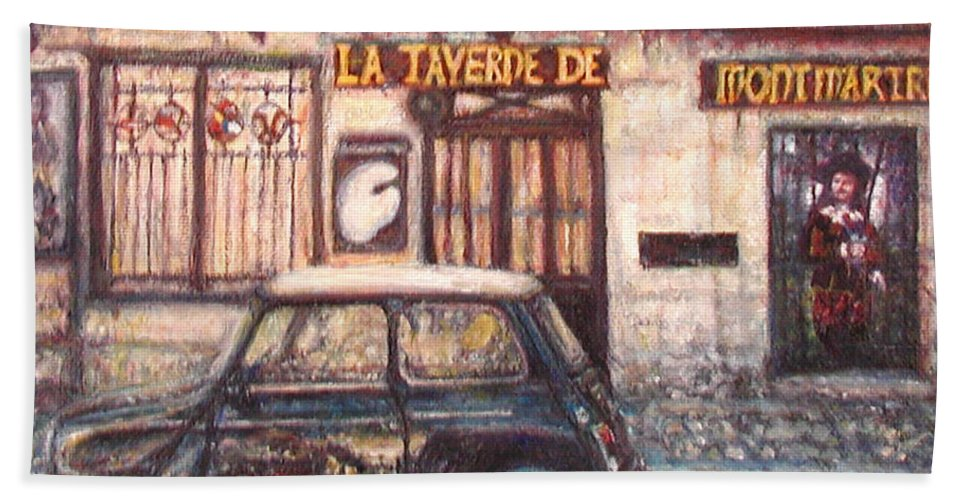 Quin Sweetman Hand Towel featuring the painting Mini De Montmartre by Quin Sweetman