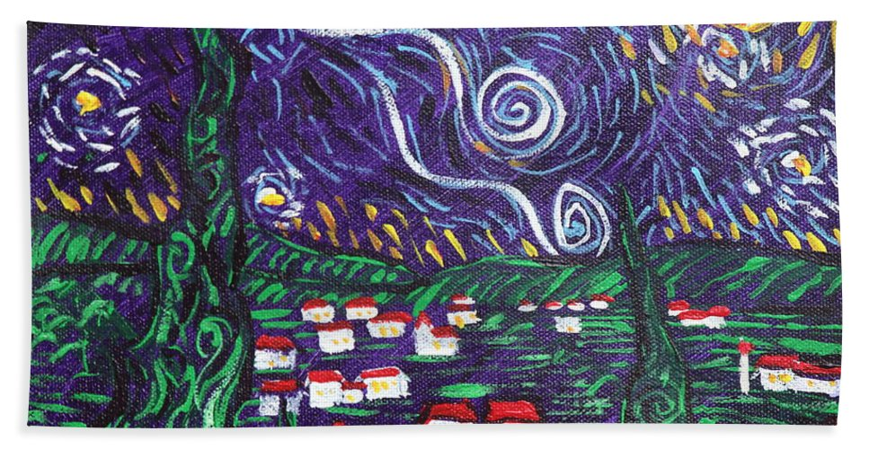 Landscape Hand Towel featuring the painting Mini Starry Night by Stefan Duncan