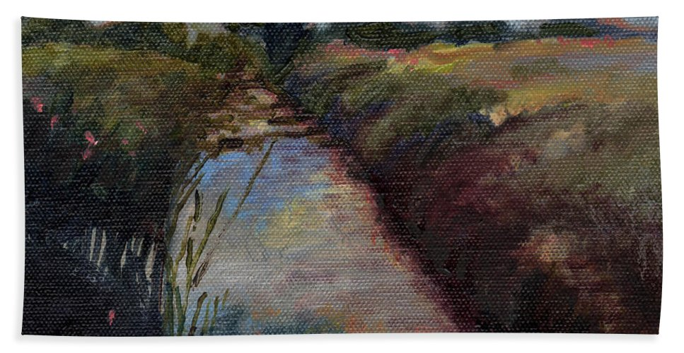 River Hand Towel featuring the painting Miniature # 4 by Helen White
