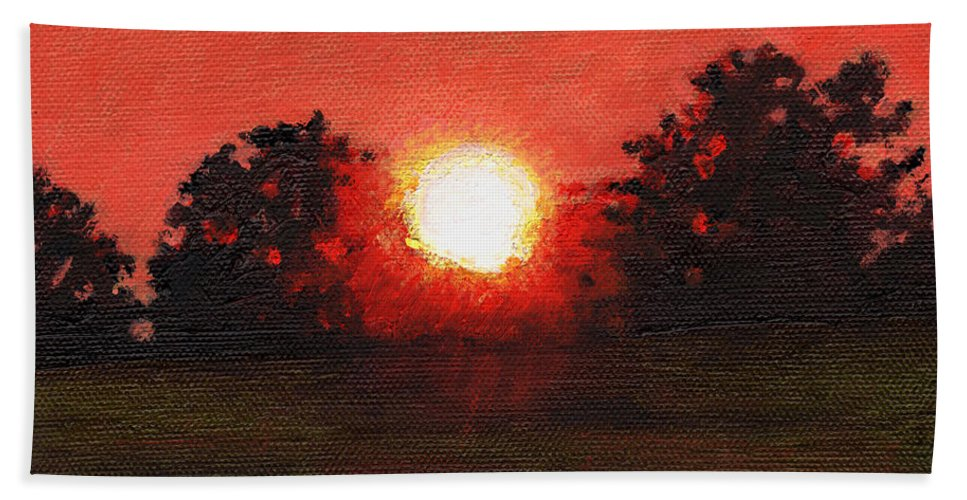 Sunset Hand Towel featuring the painting Miniature #3 by Helen White