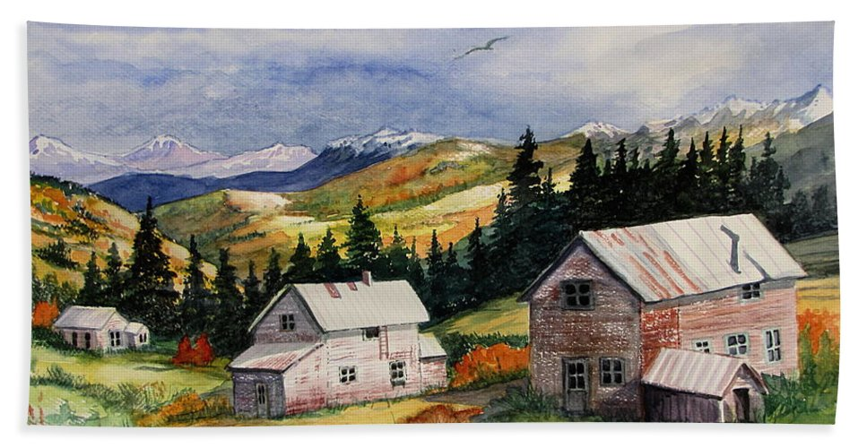 Old Mining Town Hand Towel featuring the painting Mining Days Over by Marilyn Smith