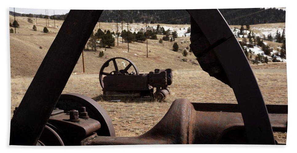 Mining Equipment Bath Sheet featuring the photograph Mining Equipment by Ernie Echols