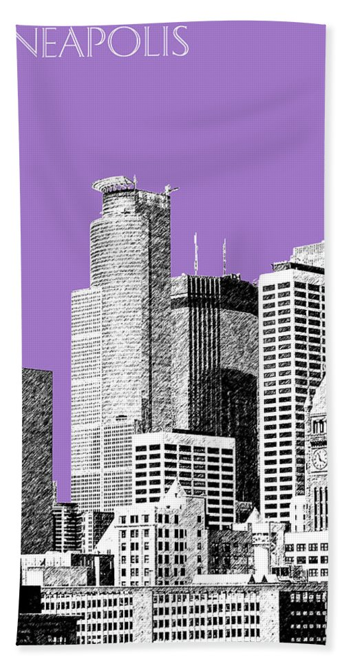 Architecture Hand Towel featuring the digital art Minneapolis Skyline - Violet by DB Artist