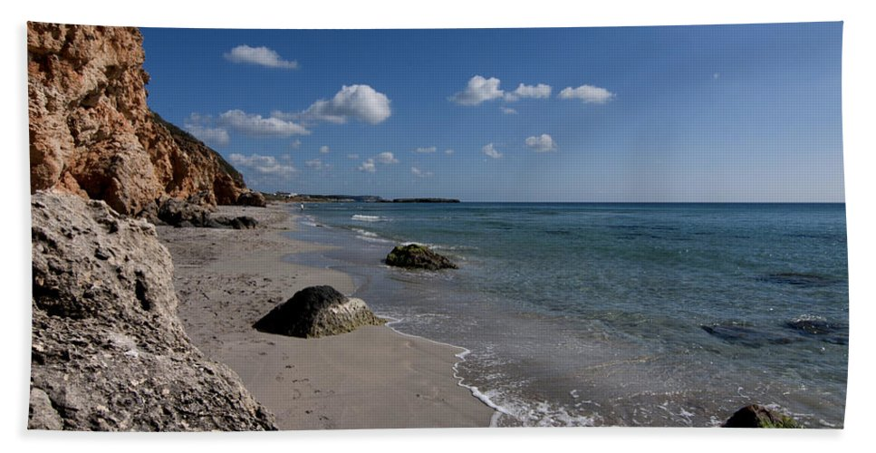 Peace Hand Towel featuring the photograph Binigaus Beach In South Coast Of Minorca With A Turquoise Crystalline Water - Paradise In Blue by Pedro Cardona Llambias
