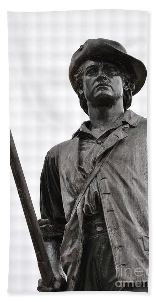 Minute Man Statue Hand Towel featuring the photograph Minute Man Statue Concord Massachusetts by Staci Bigelow