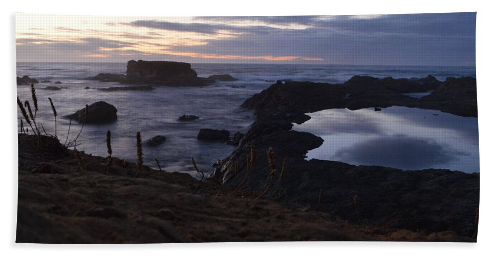 Glass Beach Hand Towel featuring the photograph Mirror At Glass Beach by Along The Trail