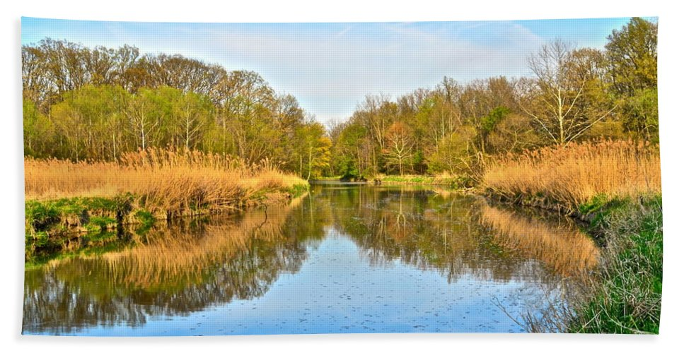 Canal Hand Towel featuring the photograph Mirror Canal by Frozen in Time Fine Art Photography