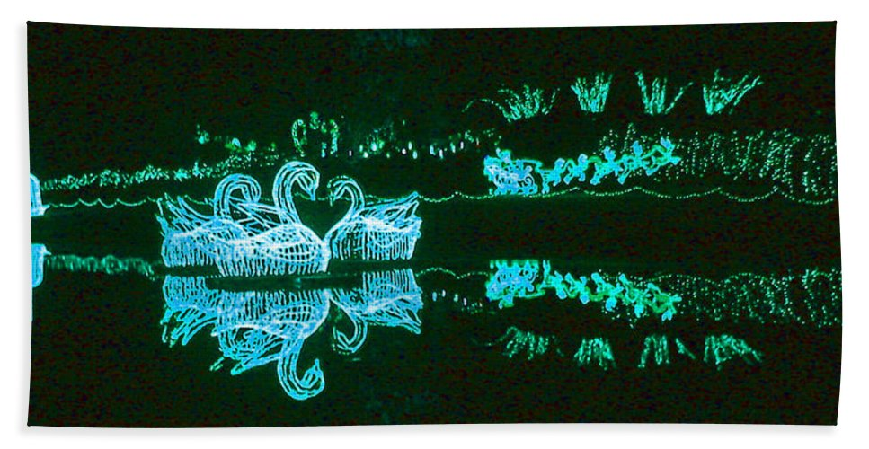 Digital Art Hand Towel featuring the photograph Mirror Lake Reflections In Teal by Marian Bell