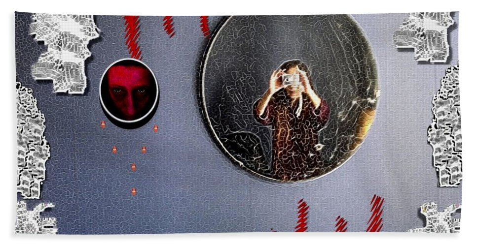 Wings Hand Towel featuring the mixed media Mirror Mirror by Pepita Selles