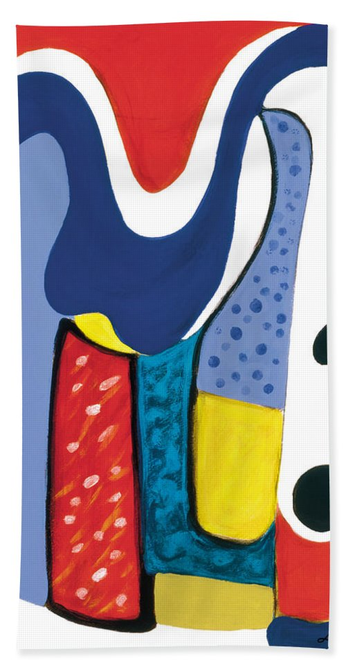 Abstract Art Bath Sheet featuring the painting Mirror Of Me 1 by Stephen Lucas