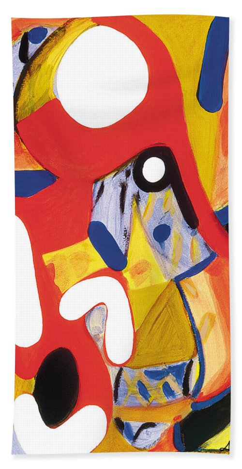 Abstract Art Hand Towel featuring the painting Mirror Of Me 2 by Stephen Lucas