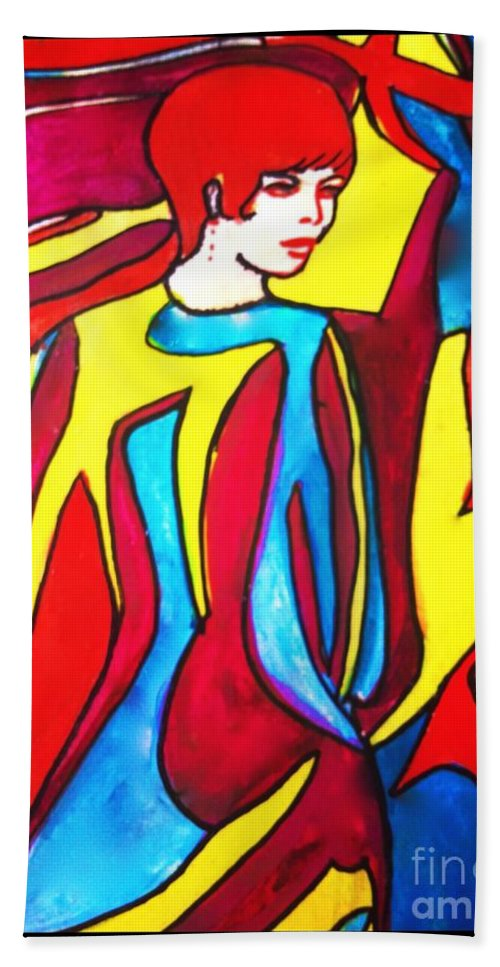 Fashion Hand Towel featuring the painting Miss 1966 Detail 2 by Joan-Violet Stretch