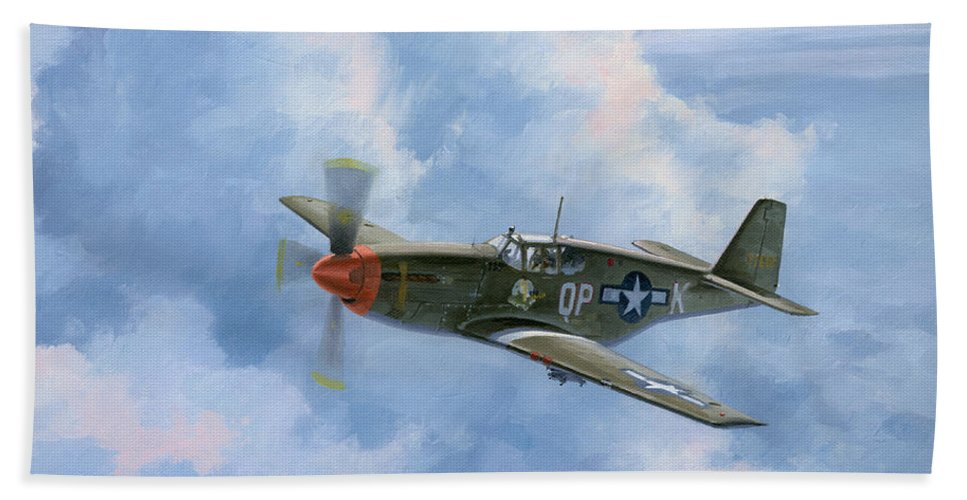 Aviation Art Bath Sheet featuring the painting Miss Dallas by Wade Meyers