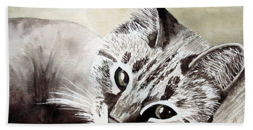 Cat Hand Towel featuring the painting Miss Lilly by Rebecca Zdybel