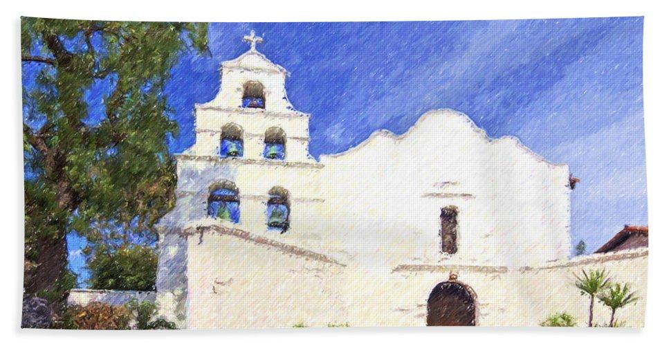 Mission Basilica San Diego De Alcala Hand Towel featuring the digital art Mission Basilica San Diego De Alcala Usa by Liz Leyden