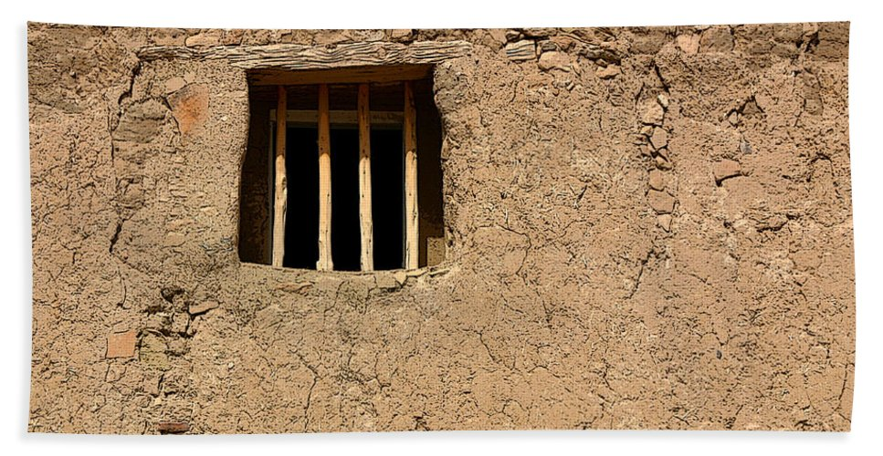 Adobe Hand Towel featuring the photograph Mission Church Window by Joe Kozlowski