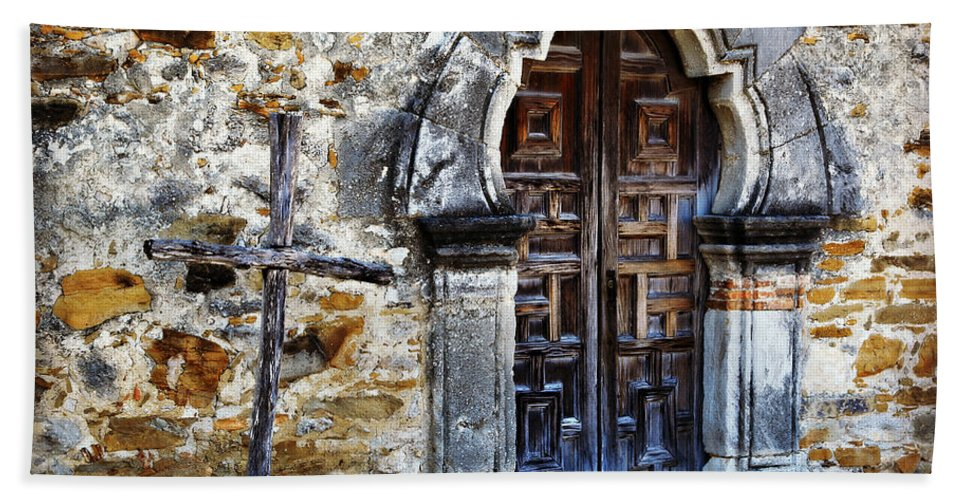 Texas Hand Towel featuring the photograph Mission Espada Entrance by Stephen Stookey